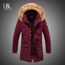 Winter Men Stand Fur Collar Parka Outerwear Jacket