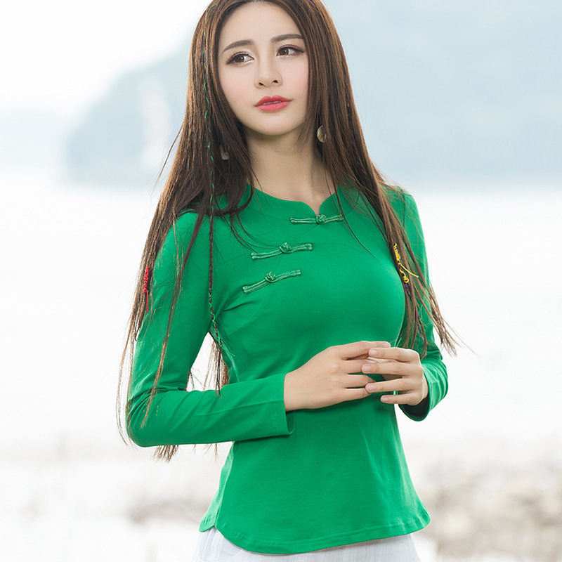 New Women Ethnic Vertical Collar Button Autumn Spring Chinese Style Retro Pure Color Long Sleeve T-shirt Female Slim Shirt Tops