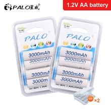PALO 4-24 pcs AA 3000mAh 1.2V NI-MH Rechargeable Battery AA 2A ni mh nimh 1.2 Volt Original High Capacity Current Batteries