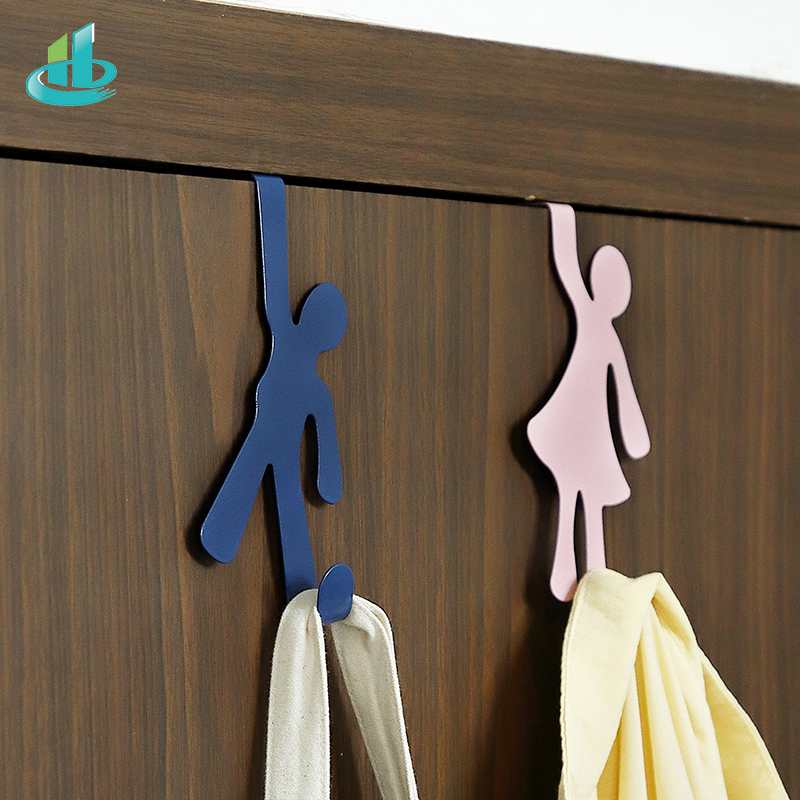 Creative Metal Door Hook Hanger Lovers Person Shape Holder Storage Rack Space Saver Kitchen Bedroom Bathroom Racks Hangers