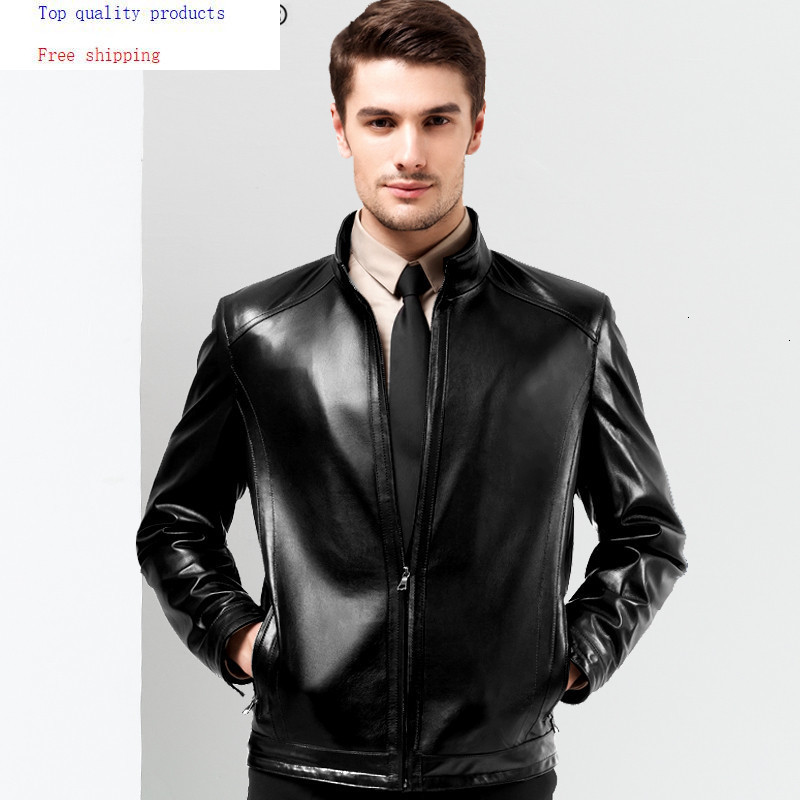 AYUSNUE Genuine Leather Jacket Men Motorcycle Sheepskin Coat Spring Autumn Plus Size Leather Jackets 2020 14BAQ00014007 KJ2251