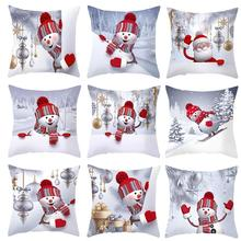 45*45CM Pillowcase Cushion Cover Pillow Cover Christmas Snowman Pillow Case Cushion Case Sofa Bed Home Decorative Pillowcase snowman print cushion cover pillowcase