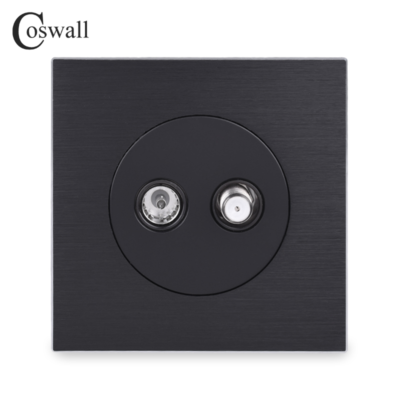 Coswall Aluminum Panel Female TV Connector With Satellite Outlet Wall Socket Knight Black