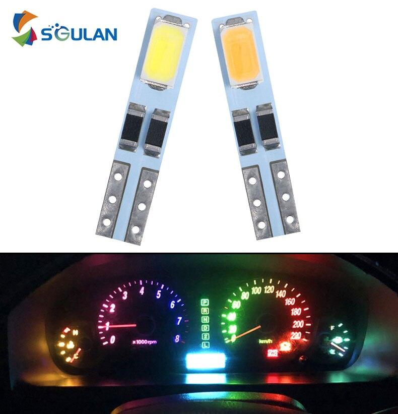Светодиодсветодиодный автомобильная лампа T5 W3W W1.2W для приборной панели, 10 шт., 12 В