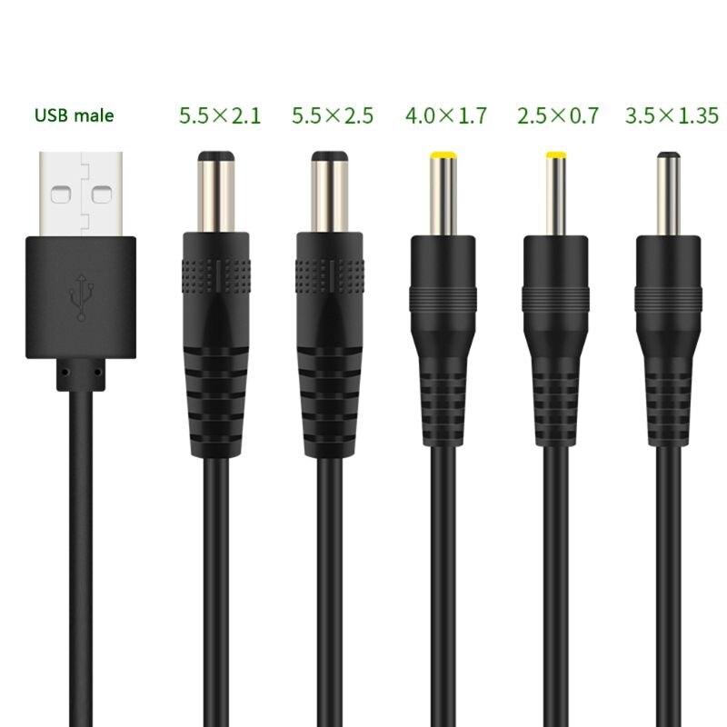 Зарядный кабель с USB на порт постоянного тока, шнур DC/5,5x2,1 5,5x2,5 3,5x1,35 4,0x1,7 2,5x0, 7