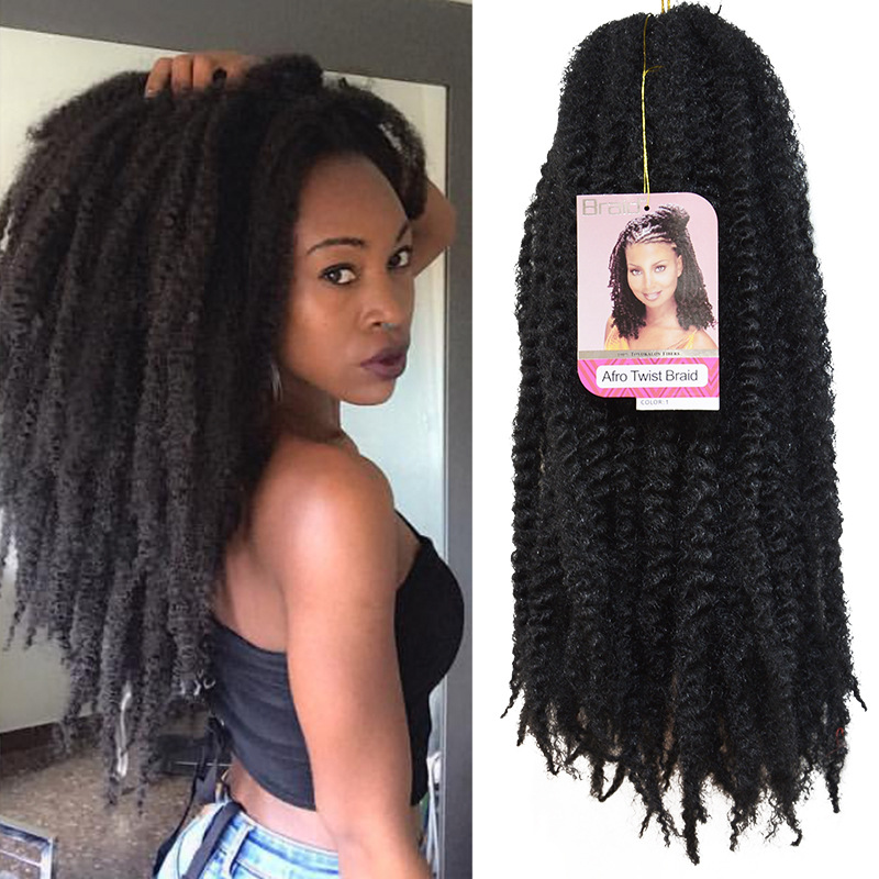 Marley braid Hair Extensions Afro Kinky Curly Wig Long Synthetic Twist Wigs For Black Women and Men Afro Curly Hair