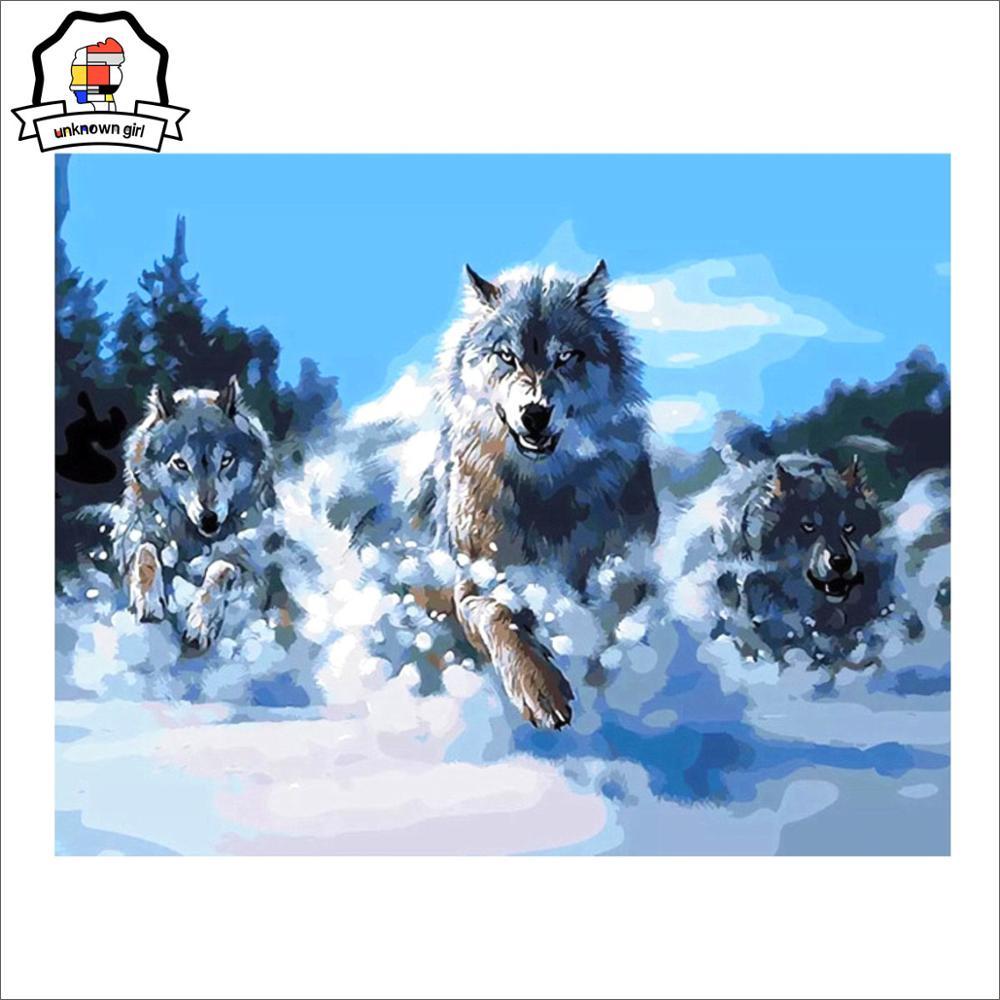 Lukisan Dengan Angka Hewan Serigala Lukisan Kaligrafi Minyak