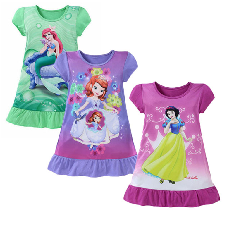 Summer Girls Dress Princess Cartoon Party Casual Dress Sofia Snow White Children Dress Girl Fashion Knee-Length Outfit Clothes