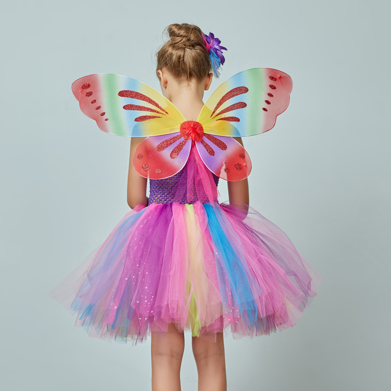 Girls Butterfly Fairy Fancy Tutu Dress Wings Costume Kids Princess Birthday Party Dress Halloween Cosplay Kids Spring Tulle Dress (3)