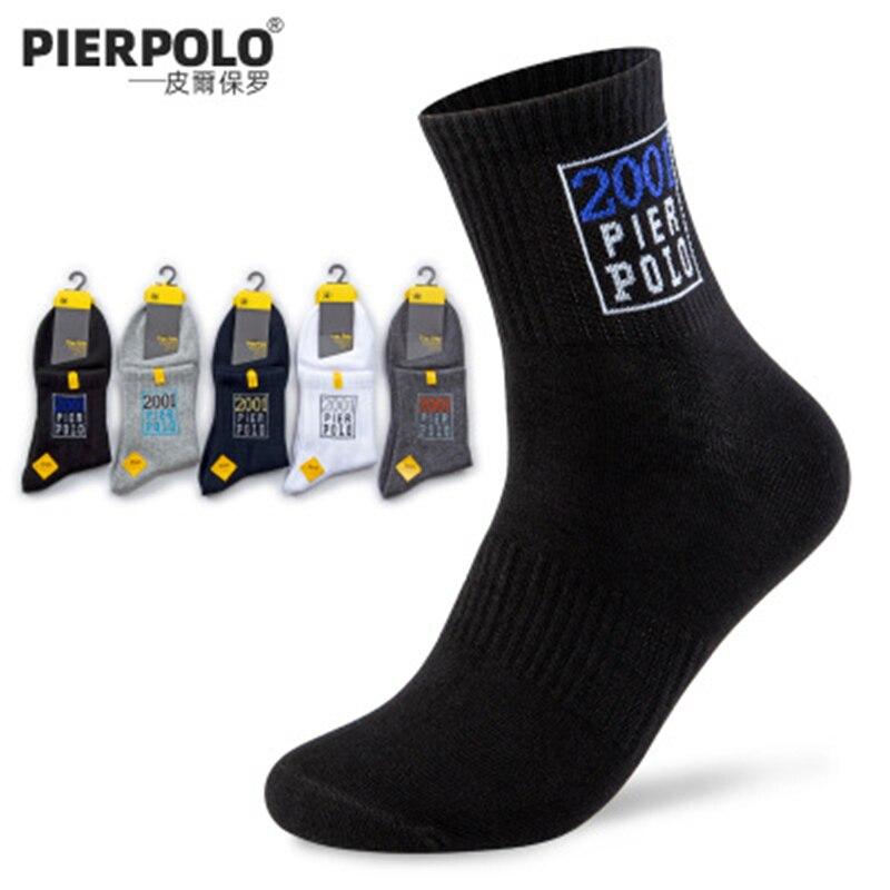 Новинка 2019, мужские носки PIER POLO, впитывающие пот дышащие хлопковые мужские носки, одноцветные жаккардовые Спортивные Повседневные носки, 5