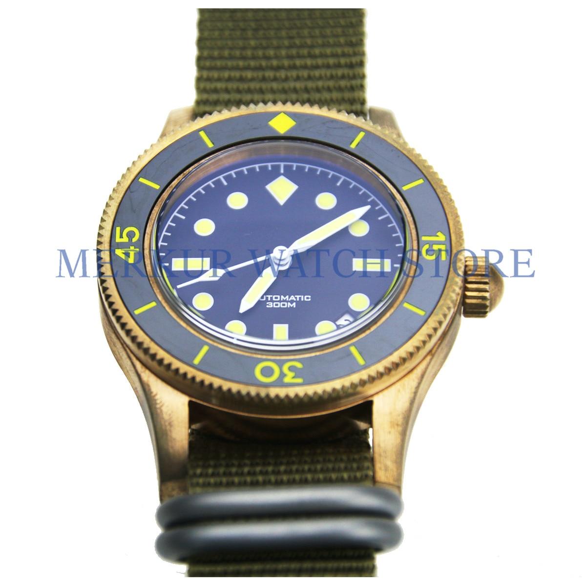 Pure Bronze Vintage Diver Mens Mechanical Watch 200m Japan NH35 Automatic Sapphire Pop Glass Ceramic bezel