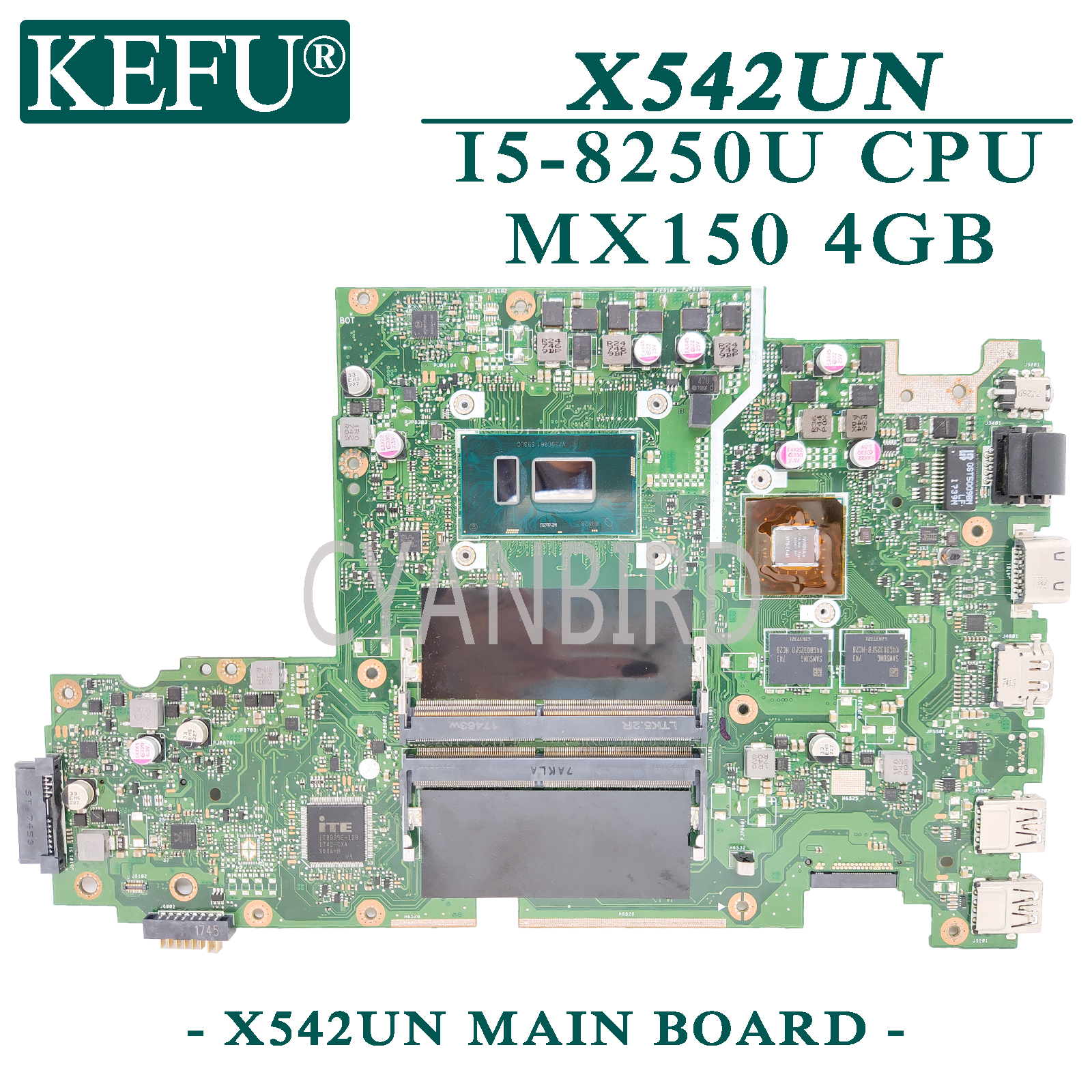 KEFU X542UN original mainboard for ASUS VivoBook X542UN X542UR X542UQ X542U FL8000U with I5-8250U <font><b>MX150</b></font>-4GB <font><b>Laptop</b></font> motherboard image