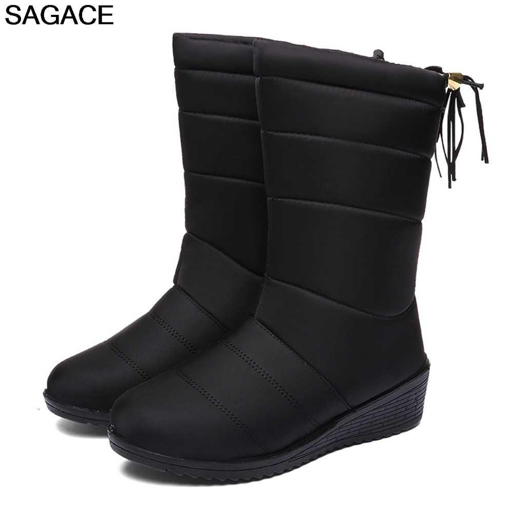 SAGACE Laarzen Schoenen Vrouw Waterdichte Laarzen Dames Solid Winter Warm Sneeuw Laarsjes Ronde Neus Botas Boot Voor Vrouwen zapatos de mujer