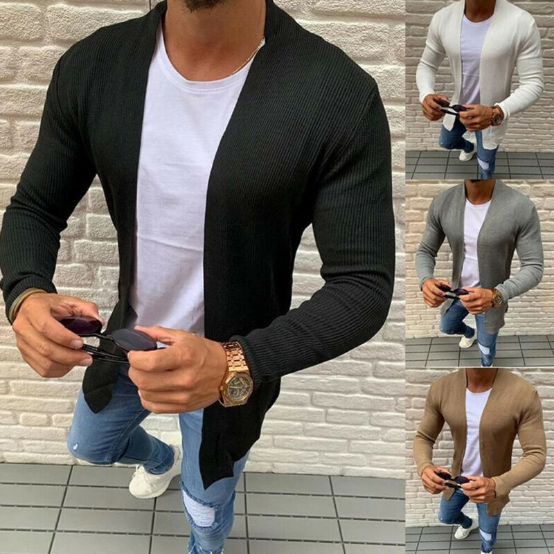 Men's V Neck Slim Fit Knitted Cardigan Sweater Coat Spring And Autumn Pullover Male Long Sleeve Strip Blouse Sweater Plus Size