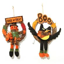 Trick Or Treat BOO Halloween Wreath Fashion Cute Scarecrow Bird Decor Door Hanging Ornament Party Decoration Home Crafts