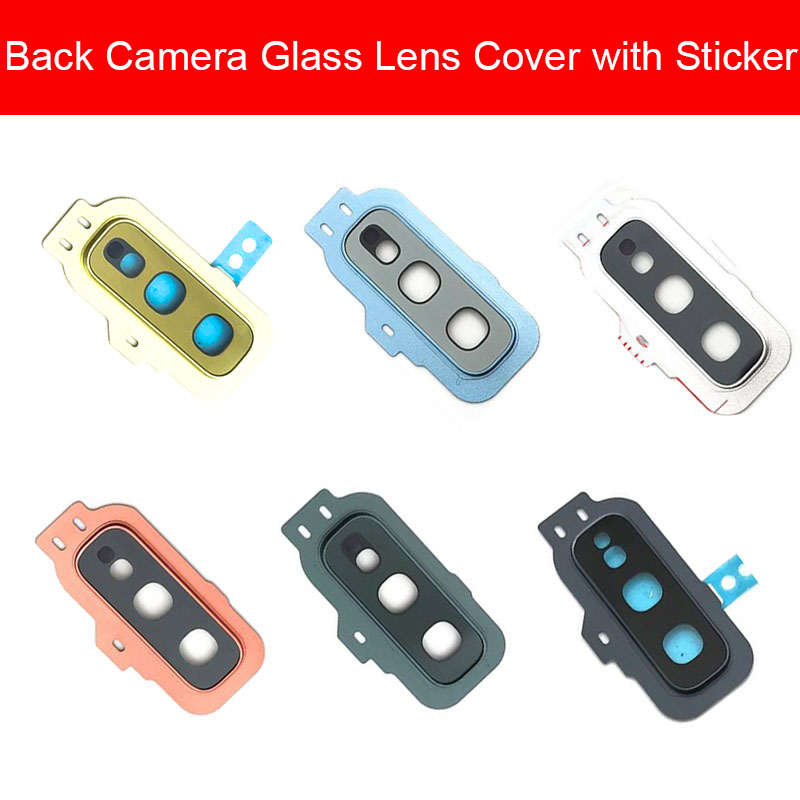 Back Rear Camera Lens For Samsung Galaxy S10e Camera Lens Glass Cover Frame + Sticker Protection Replacement Repair Parts