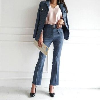 Spring Women's Office Suit Double-Breasted Stripe Blazer Jacket High Waist Slim Wide-Leg Trousers 2 Piece Set Female Pantsuit 2