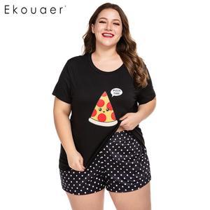 Image 1 - Ekouaer Women Plus Size Pajamas Sets O Neck Short Sleeve Nightshirt and Shorts Home Summer Pajama Set Loungewear