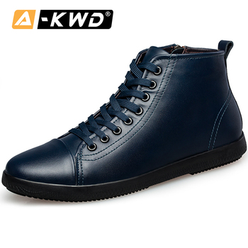 High Top Black Designer Trainers Chaussures Homme Blue Shoes Men Simple Autumn Men Leather Shoes Fashion Shoes 2019 Sneakers Men