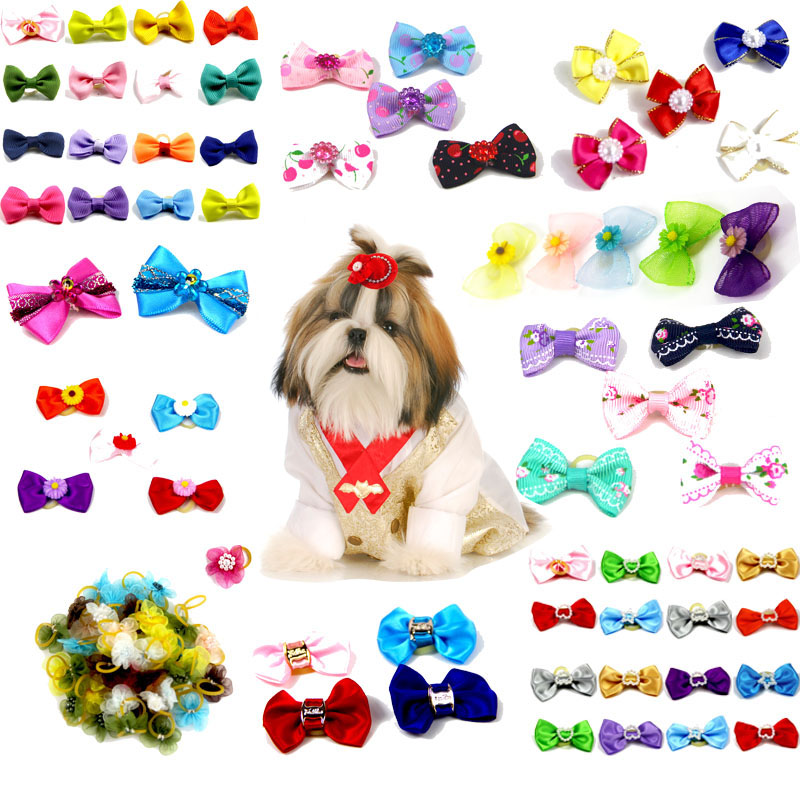 10/20/30pcs Dog Grooming Bows Mix Color Cat Dog Hair Bows Small Pog Grooming Accessories Dog Hair Rubber Bands Pet Supplier