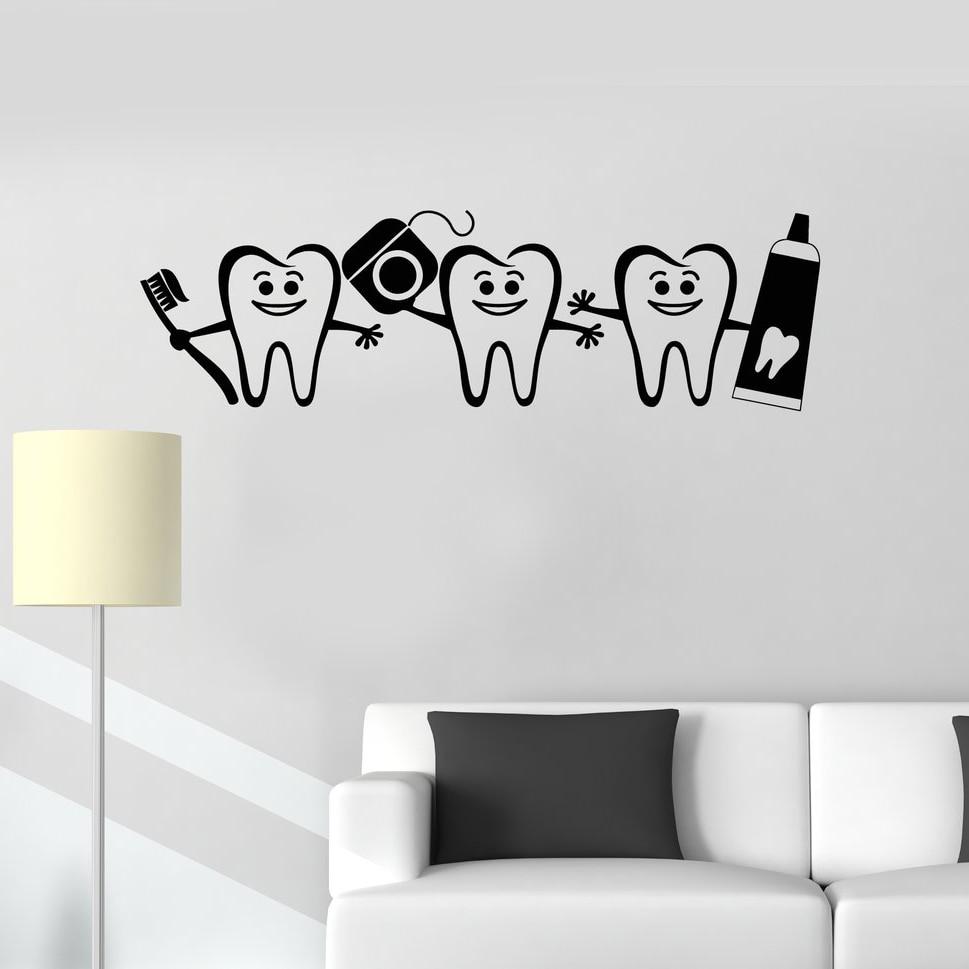 WJWY Healthy Teeth Bathroom Decor Dental Care Wall Sticker Dentist Sign Door Window Decals Nursery Kids Room Wall Decal