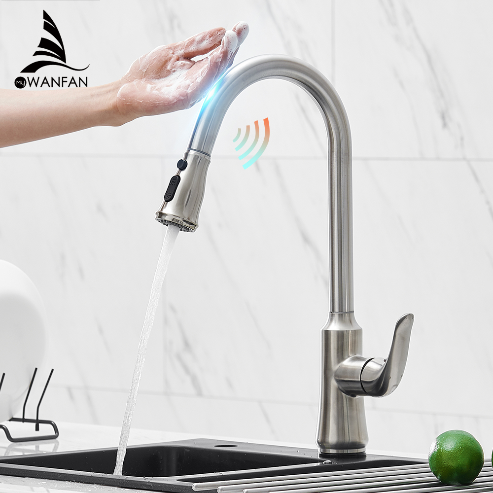 Touch On Kitchen Faucets With Pull Down Sprayer, Single Handle Black Kitchen Sink Faucet With Pull Out Sprayer KH1061