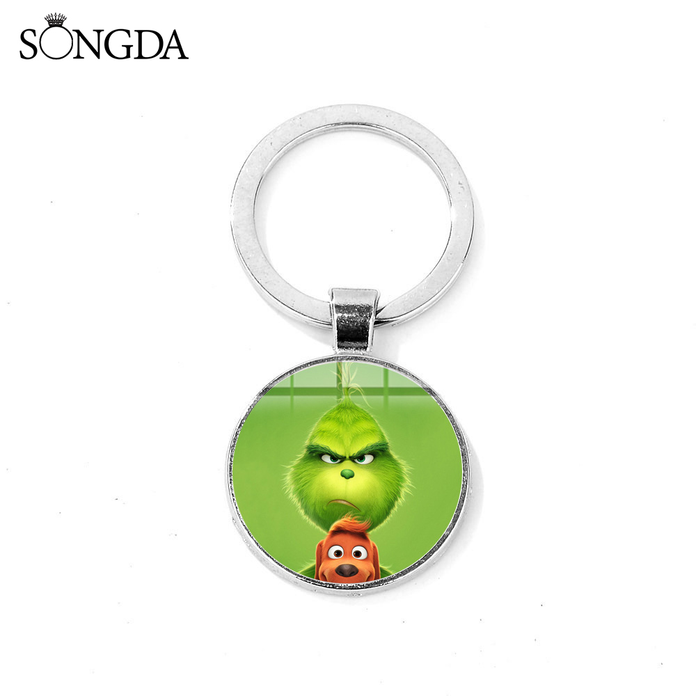 SONGDA The Green Monster Grinch Keychain How The Grinch Stole Christmas Funny Printed Glass Art Key Chain Kids Jewelry Xmas Gift