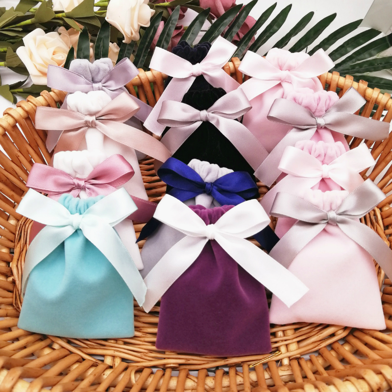 20PCS Velvet Pouch Jewelry Packaging Cosmetic Storage Cute Bag Makeup Gift Wedding Party Candy Cosmetic Drawstring Packing Bags