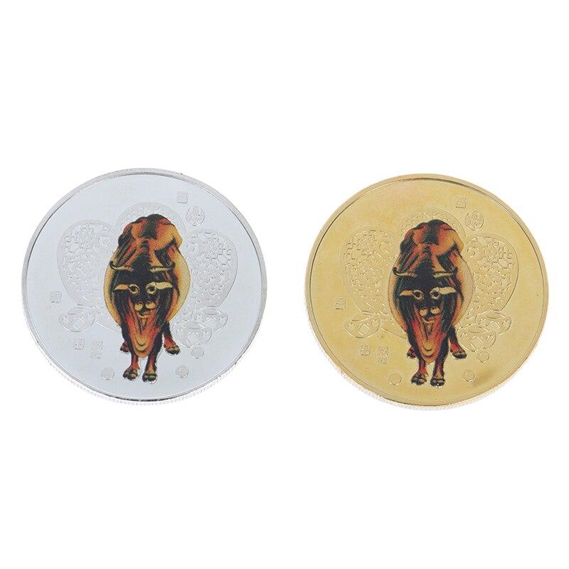2021 год быка памятная монета китайского зодиака сувенирная монета Non-монеты иностранных валют для коллекция украшений для дома подарок кора...