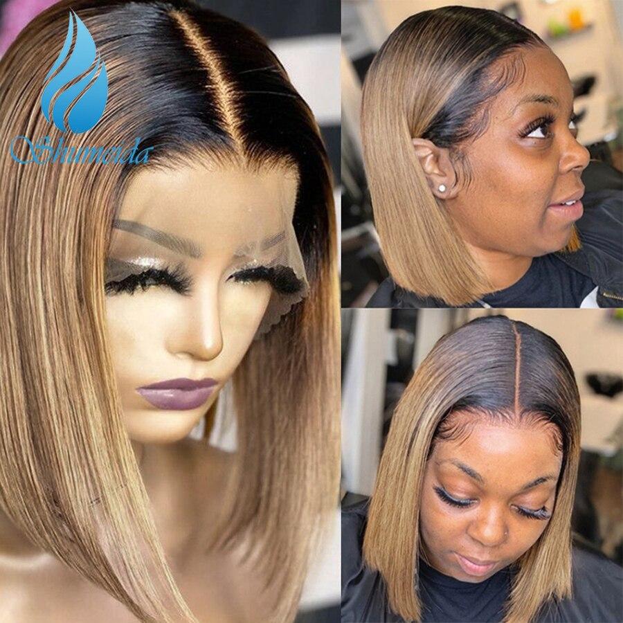 Парик из натуральных волос на сетке спереди, 150% плотность, бразильские волосы, блонд, короткий Боб, бесклеевые парики на сетке