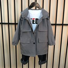 Children's Trench Jackets 2019 Autumn New Baby Boys Casual Long Jackets Kids Hoo