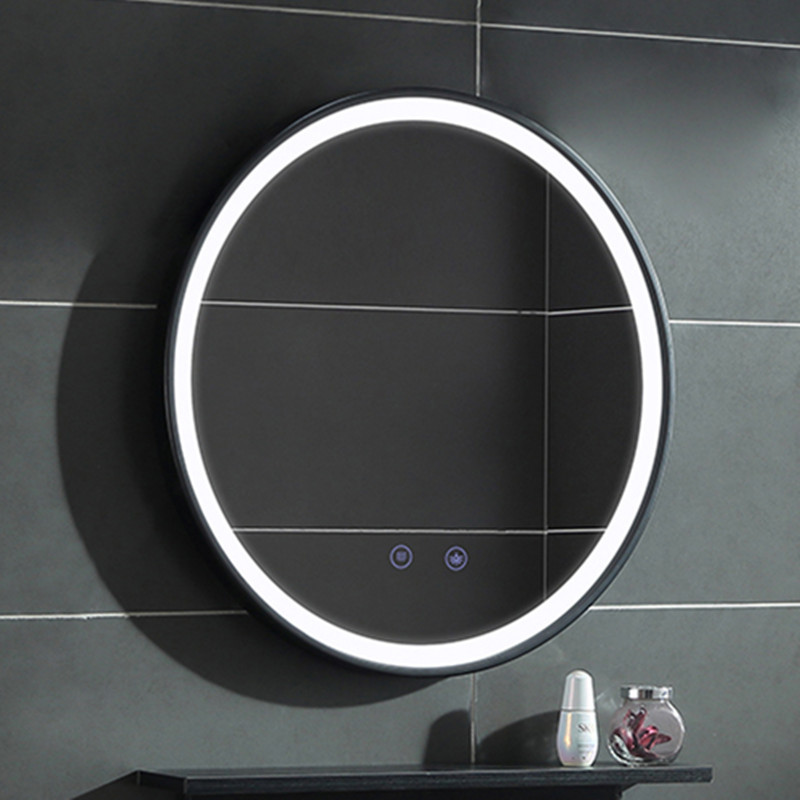 Smart Touch LED Light  Bathroom Mirror Anti-fog Wall Hanging Makeup  Black Frame Wrought Iron Edge Round
