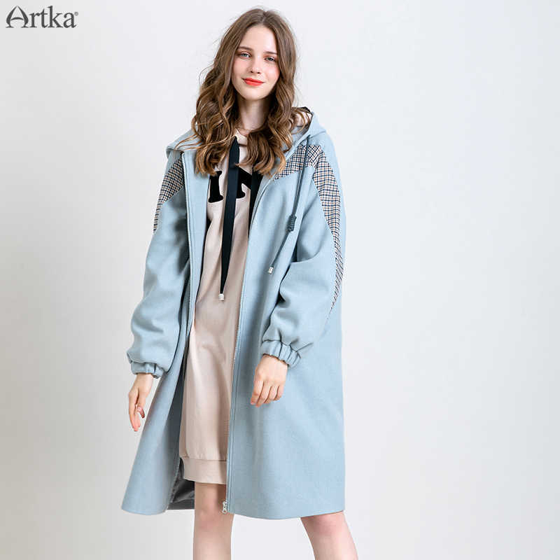 ARTKA 2019 Winter New Women Woolen Coat Fashion Casual Plaid Spliced Hooded Woolen Coat Long Warm Outwear For Women WA15291D