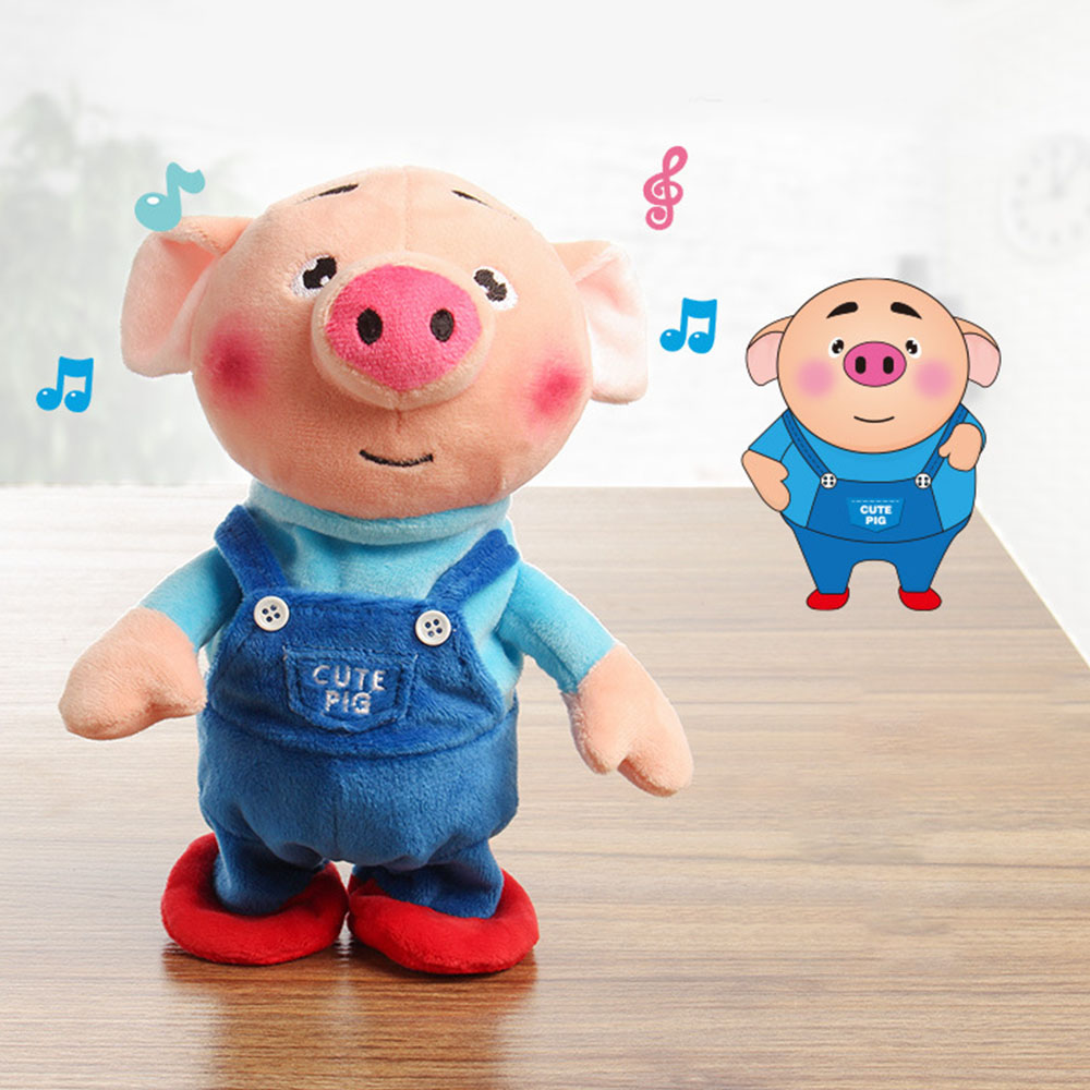 New 23cm Funny Pig Walking And Talking Stuffed Animal Horse Toy Sound Record Plush Pig Creative Gift For Kids