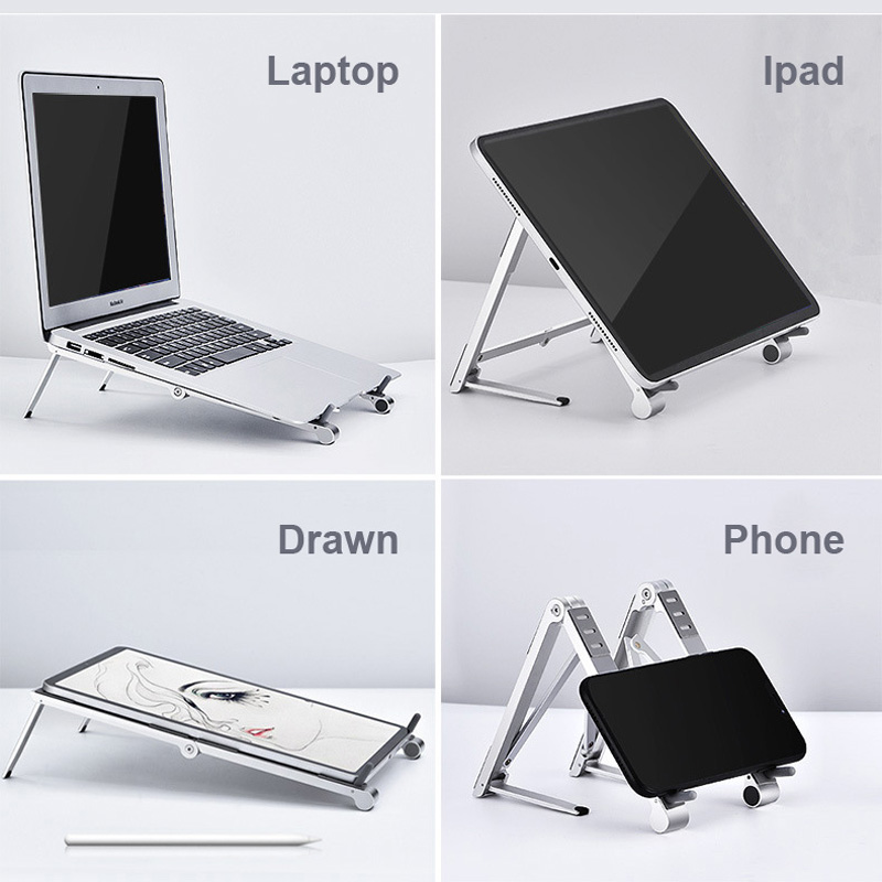 lowest price Aluminum Alloy Notebook Stand Portable Laptop Stand Holder For Macbook Air Pro 13 15 Non-slip Silicone Computer Cooling Bracket