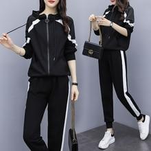 Pants Tracksuit Outfits Two-Piece-Set Black White Plus-Size Women XL-5XL Coat-Top Zipper