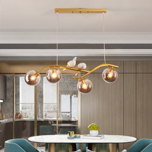 Lámpara colgante nórdica de bola de vidrio, luminaria postmoderna de 4 cabezales para sala de estar, dormitorio y cocina, accesorios de iluminación