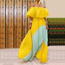Yellow Party Dress Boho One Shoulder Pleated Long Maxi Dress Bohemian Vacation Beach Contrast Color Elegant Vestido Female 2019 kids contrast lace pleated dress
