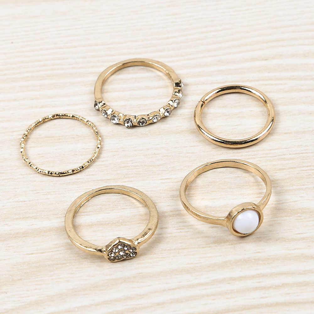 5-piece Combination Joint Ring European And American Fashion Charm Trend Gold Pearl Heart Female Ring Wholesale Sales Women's
