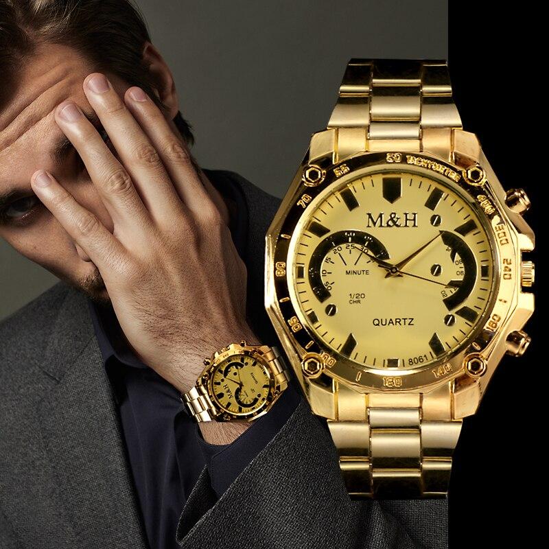 Men Gold Fashion Luxury Brand M&H Quartz Wrist Watch Men High Quality Steel Men's Dress Watches Reloj Hombre Relogio Masculino