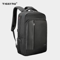Tigernu-고품질 발수 나일론 남성용 15.6 인치 노트북 백팩, 블랙 & 퍼플 도난 방지 비즈니스 여행 책가방, Tigernu 브랜드