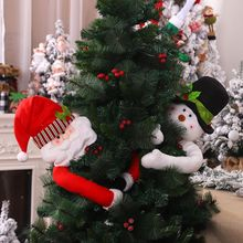 Santa Claus/Snowman Hugger Christmas Tree Toppers With Hat Poseable Arms Holiday