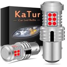 Katur 2pcs canbus led 1157 p21/5 w bay15d 자동차 브레이크 중지 조명 전구 오류 무료 없음 하이퍼 플래시 앰버 옐로우 화이트 레드