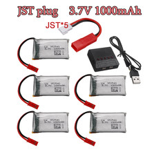 Jst plugue 3.7v 1000mah lipo bateria + carregador para x400 x500 x800 hd1315 hj818 hj819 x25 rc quadcopter zangão peça de reposição 800mah