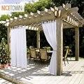 NICETOWN Sommer Weiß Indoor Outdoor Vorhang Panels Elegante Tab Top Wasserdichte Vorhänge für Terrasse & Garten mit Seil Tieback