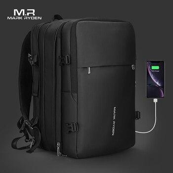 Mark ryden mochila masculina de 17 polegadas, recarga usb para laptop, multicamada com espaço, para viagem, antirroubo mochila
