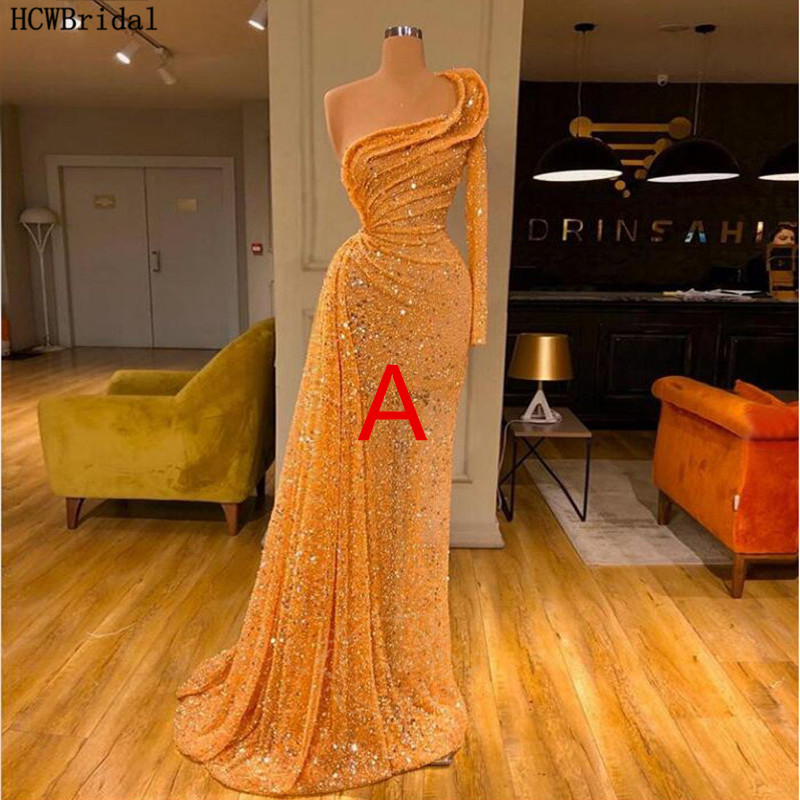 Sparkly Golden Black Girls Evening Party Dress One Shoulder Long Sleeve Sexy Glitter Arabic Prom Gowns Long Formal Dresses