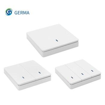 GERMA-interruptor inteligente inalámbrico, 1/2/3 botones, 433Mhz, con Control remoto RF, 110V, 220V, receptor RF, Panel de pared para luz de techo