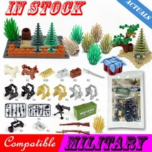 Legoing Military Tree Grass WW2 Weapon Box Sandbag Figures Gun City Army Weapons Accessories Parts Building Block Legoing Cities(China)