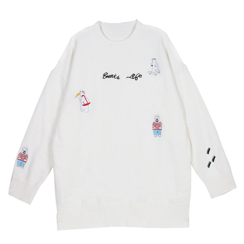Oversized Sweater Women Autumn Winter 2019 Solid Fashion Casual O Neck Cartoon Embroidery Knitted Women Sweater